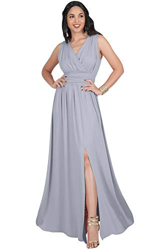 KOH KOH Petite Womens Long Bridesmaid Wedding Guest Cocktail Party Sexy Sleeveless Summer V-Neck Evening Slit Day Full Floor Length Gown Gowns Maxi Dress Dresses, Gray Grey S 4-6