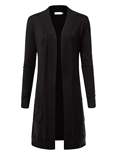 Women's Solid Soft Stretch Longline Long Sleeve Open Front Cardigan 2XL Black ()