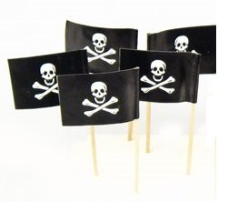Pirate Party Flag Cupcake Picks Set of 12