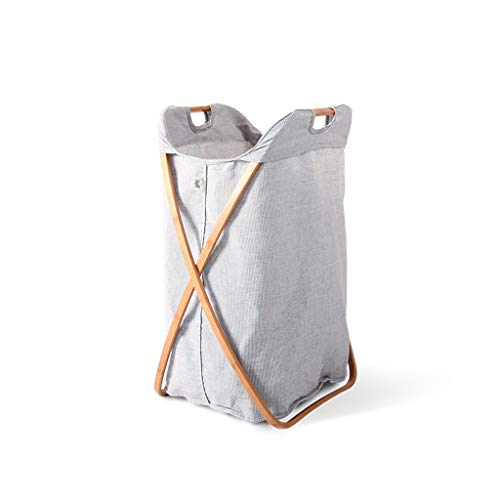 (ASJHK Dirty Hamper Fabric Storage Basket, Foldable Clothes Bucket, Reduce Storage Space, Gray)