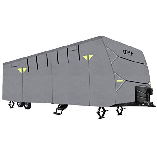 (OOFIT Travel Trailer RV Cover Weather Resistant 4 - Ply Non-Woven Fabric Roof Cover Fits for 24' - 27' RVs Grey)