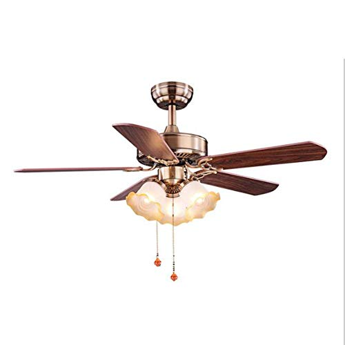 Isle Indoor Ceiling Fan Blades - GHKLGY Dimmable 42-inch Fan Chandelier, recirculating and ventilating Invisible Fan, Remote Control Fan Chandelier, Retro Style Ceiling Fan Light,B