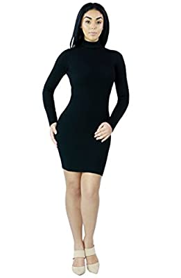 Womens Sexy Pretty Long Sleeve Bodycon Slim Fits Knit Ribbed Turtleneck Dress