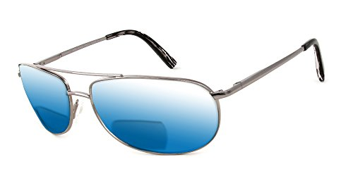 Reptile Serpent Polarized Bi-Focal Reading Sunglasses in Silver w/ Blue Mirror Lens - Tinted Bifocal Glasses Reading