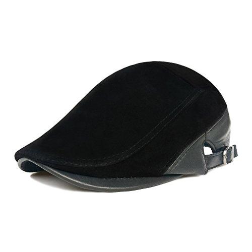 LETHMIK Unique Newsboy Cap Adjustable Genuine Suede Leather Irish Ivy Flat Hats (Mens Gatsby Clothes)