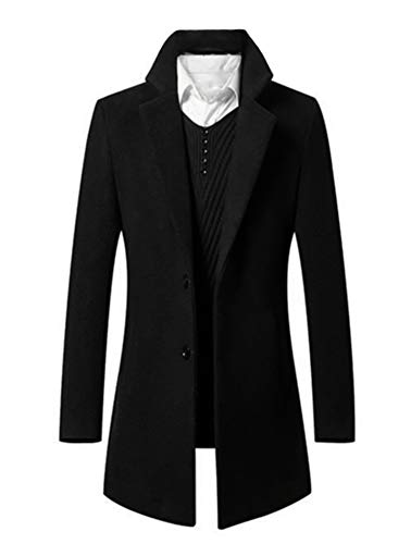 Mens Trench Coat Single Breasted 2 Buttons Long Jacket Overcoat (L, 8811 Black)