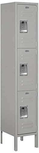 Locker Standard Steel (Salsbury Industries 63152GY-U Triple Tier 12-Inch Wide 5-Feet High 12-Inch Deep Unassembled Standard Metal Locker, Gray)