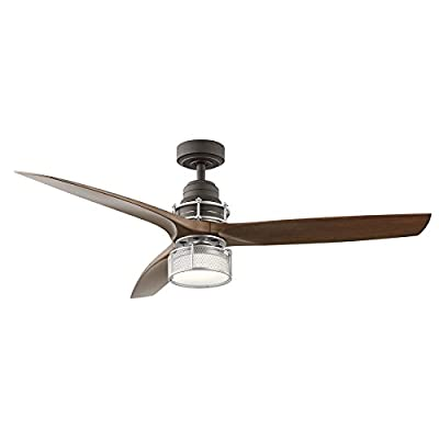 Satin Natural Bronze with Brushed Nickel Accents Downrod Mount Indoor Ceiling Fan with LED Light Kit and Remote 54-in