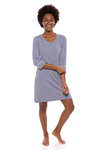 Women's Sleep Shirt 3/4 Sleeve - Classic Nightshirt for Her by Texere (Zizz, Heather Atlantic, Large) Youthful Stylish Lounge Night Time Shirt for Her TX-WB040-004-21U2-R-L