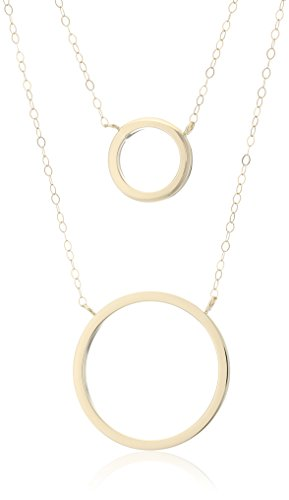 14k Yellow Gold Double Circle Layered Pendant Necklace, 17