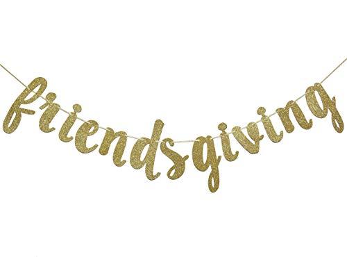 Friends Banner - Friendsgiving Gold Glitter Banner, Thanksgiving Friends Party Decoration Photo Props
