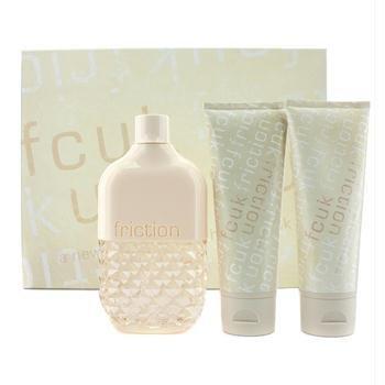 French Connection FCUK Friction Gift Set for Women (Eau De Parfum Spray, Stimulating Body Scrub, Body Lotion)