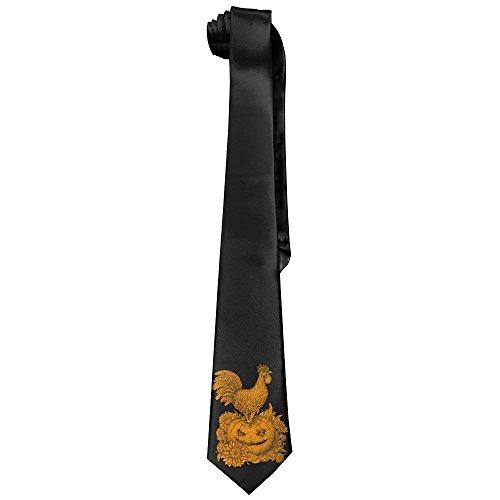 (Pumpkin Halloween Rooster Men's Tie Long Necktie Skinny Neckwear Silk)