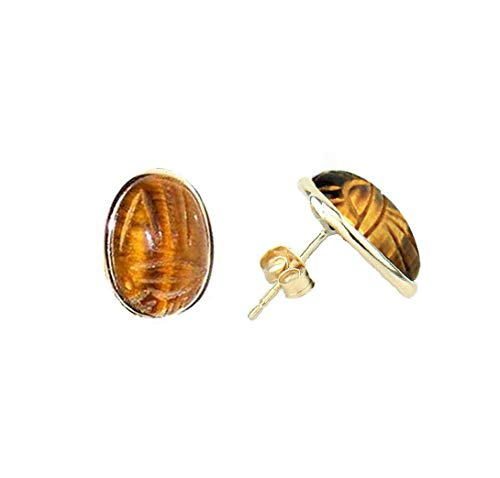 14K Yellow Gold Stud Scarab Earrings With Oval Shaped Tiger Eye Gemstones