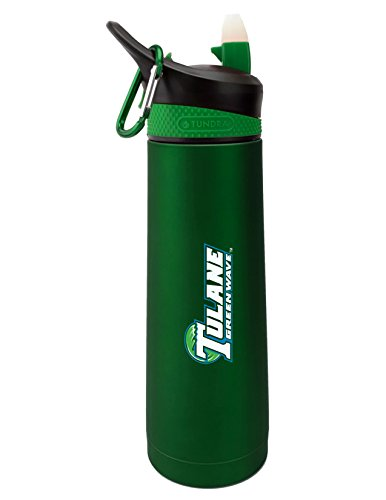 Tulane University Dual Walled Stainless Steel Sports Bottle, Design 2 - Green