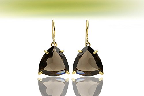Quartz Trillion Earrings (Gold triangle earrings,gold earrings,smoky quartz earrings,gemstone earrings,trillion earrings,semiprecious earrings)