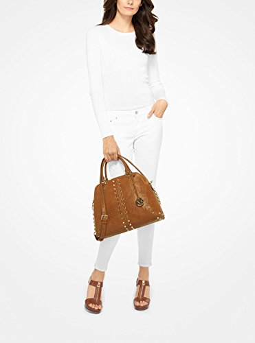 fb82e731f2dd1 ... Shoulder Bag MICHAEL Michael Kors Astor Large Studded Leather Satchel  (Walnut) Handbags Amazon.com