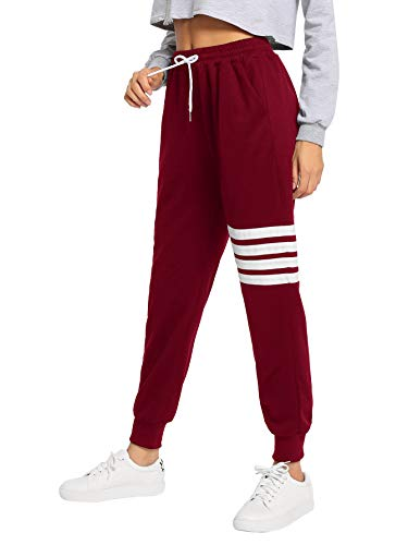 (SweatyRocks Women's Pants Color Block Casual Tie Waist Yoga Jogger Pants Burgundy S)