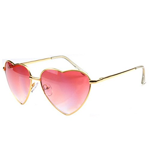 MosierBizne Womens Spring Fashion Heart-Shaped Mirror Leg Sunglasses Glasses Anti-luster - Sunglasses Where Walker Made Karen Are