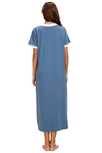 Supermamas Long Nightgown Womens Cotton Knit Short Sleeve Nightshirt with Pockets(Blue, XL) by Supermamas (Image #5)