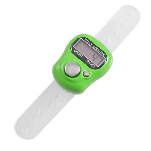 uxcell Green Plastic Case 5 Digit LCD Electronic Finger Counter Hand Tally