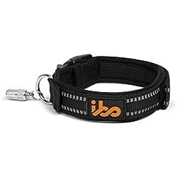 IBO Collar de Perro 3M Reflectivo para Mascota Ajustable Visible Bono Capsula con Etiqueta de Identificación (Mediano, Negro)