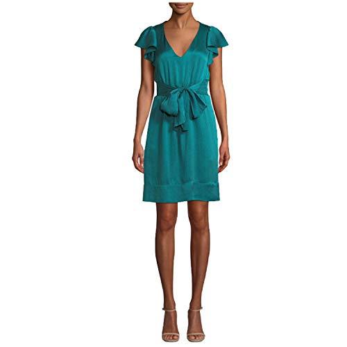 Rebecca Taylor Womens Belted Silk Flutter Sleeve V-Neck Dress Green 4