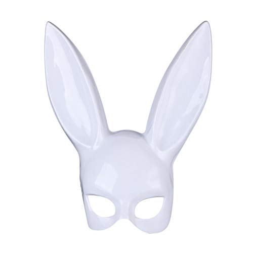 Easter Ornament Rabbit Ears Mask for Adult Women Girls Half Face Masks Party Nightclub Bar Masquerade Nmch(White, Bright) ()
