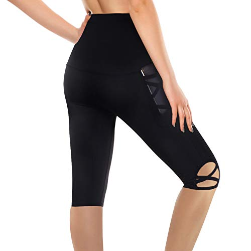 Rolewpy High Waist Workout Leggings for Women, Yoga Capri Pants with Pocket for Tummy Control Activewear Clothes (Black, L)