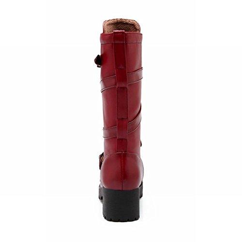 Latasa Femmes Mode Boucle Sangles Plate-forme Chunky Mi-talon En Cuir Mi-mollet Bottes Jodhpur Bordeaux Rouge