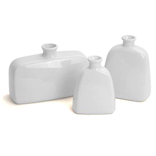 (Milltown Merchants&Trade; Ceramic Vase Set - Set of 3 Ceramic White Bottles - Flower Vase Assortment - Contemporary Vases (3, White))