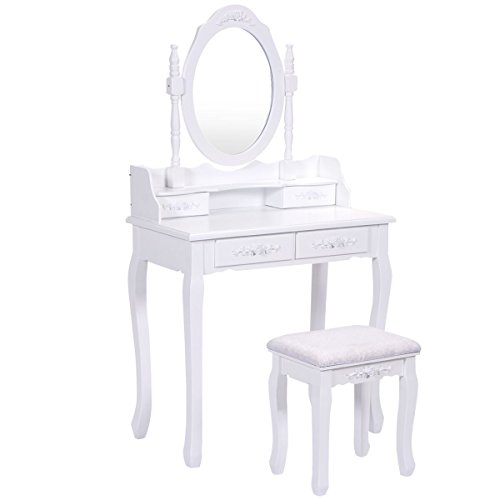Wood Bedroom Vanity Makeup Table (Giantex Bathroom Vanity Wood Makeup Dressing Table Stool Set with Mirror (Round Mirror, 4 Drawers))
