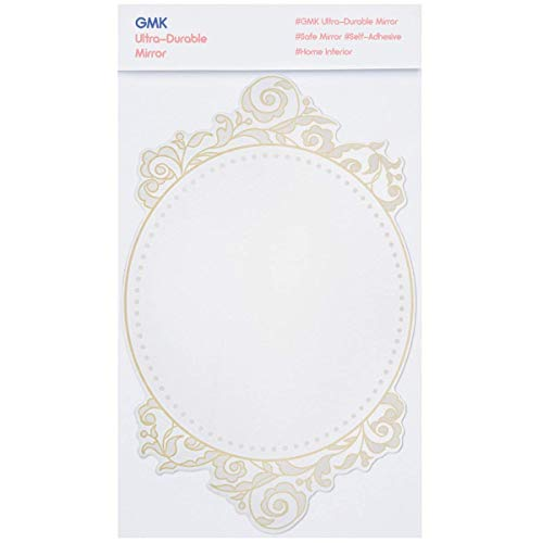 GMK Luxury Acrylic Mirror with Shock Resistant Coating for Safety, Printed Design, Easily Applicable and Self-Adhesive, 7.3 x 11.2 inches, for Home and Bathrooms (Gold) by GMK (Image #3)