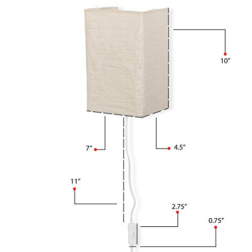 Wallniture Asian Wall Lamp with Toggle Switch Handmade Rice Paper Cream 2 25 Watt Chandelier Bulb Included by Wallniture (Image #4)
