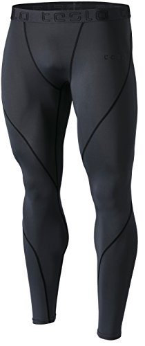 TM-MUP19-CHC_Large Tesla Men's Compression Pants Baselayer Cool Dry Sports Tights Leggings MUP19