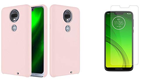 Bemz Slim Series Compatible with Motorola Moto G7 Power, Moto G7 Supra Case, Full Body Protection Soft Silicone Rubber Jelly Cover Case (Pink Sand), Tempered Glass Screen Protector and Atom Cloth