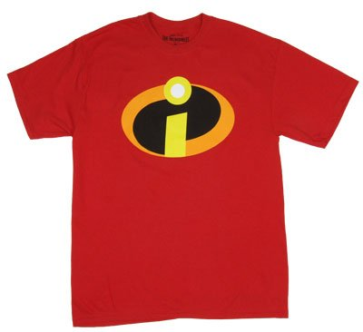 Disney Men's The Incredibles Logo Basicon T-Shirt ,Red, Medium ()