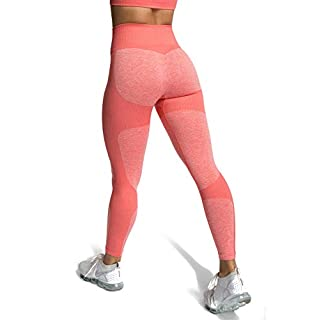 M MOYOOGA Seamless Workout Leggings for Women High Waisted Leggings for Yoga Gym Sports (Small, Coral Pink)