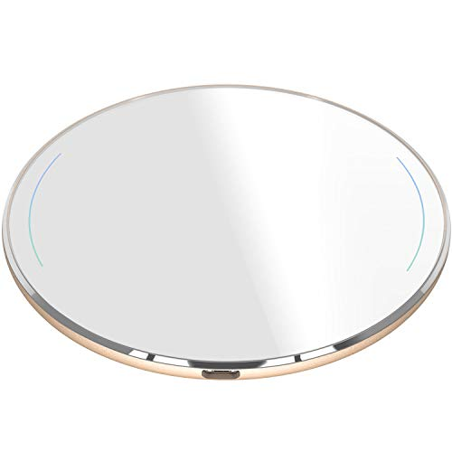 TOZO Wireless Charger Upgraded, Ultra Thin Aviation Aluminum [Sleep-Friendly] FastCharging Pad for iPhone Xs, XR, Xs Max, X, 8 Plus Samsung Galaxy S8-S10+, Note 8 9 [Gold]-NO AC Adapter