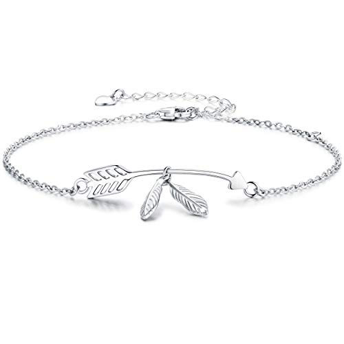 - Boniris 925 Sterling Silver Cupid Arrow Love Bracelet Womens Feather Leaves Jewelry Cuff Adjustable for Mother's Day, Birthday and Graduation Season