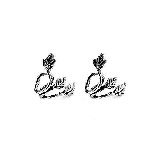 Dmeiling Women Silver Plated Leaf Ear Cuff Earrings Clip On Wrap No Piercing Personality Retro Ear Clip