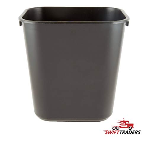 RCPRODS 13 Qt. Slim Plastic Rectangular Wastebasket/Trash Can, Open Top, Black, for Indoor Home Office, 2-Pack, with Waxed Bags