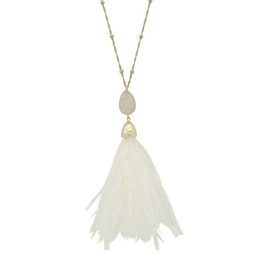 Rosemarie Collections Women's Long Pendant Druzy Stone and Feather Tassel Necklace (Ivory) (Ivory Necklace Womens)