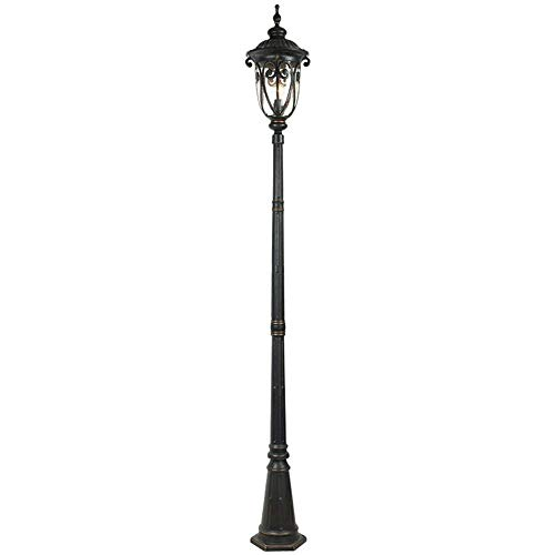 2.2m Victorian Post Lantern with 1-Light High Pole Exterior Pillar Lights Cast Aluminum with Glass Community Lawn Floor Lamp Illuminated Patio Park Courtyard Waterproof IP55