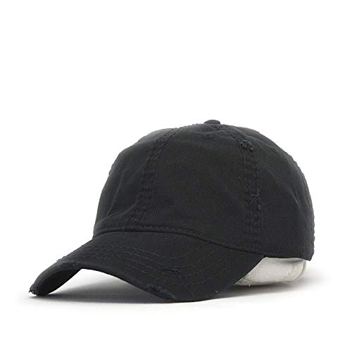 (Vintage Year Plain Washed Cotton Twill Distressed with Heavy Stitching Low Profile Adjustable Baseball Cap (Black))