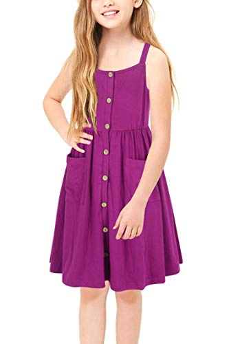 Girls Sun Dress (GORLYA Girl's Casual Summer Beach Sundress A-Line Spaghetti Strap Button Down Midi Dress with Pockets for 4-12 Years (GOR1018, 11-12Y, Fuchsia)