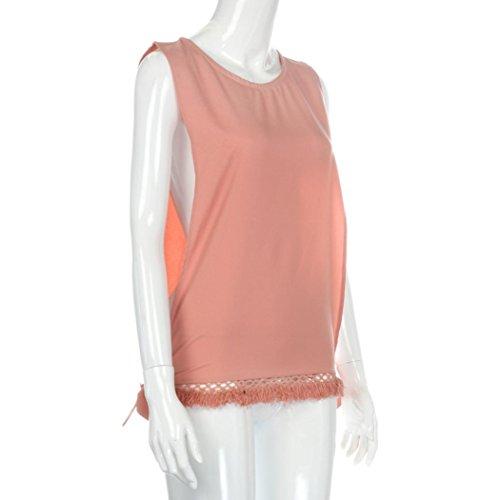 mujeres ropa ☀☀Damas borla hueco blusa casual camisetas sin mangas Rosado