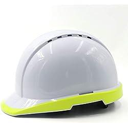 Casco de Seguridad en la construcción - Construcción en el Sitio Construcción Nocturna Líder en Seguros de Mano de Obra eléctrica Construcción del Casco Blanco Anti-ácaros Transpirable Fluorescente H