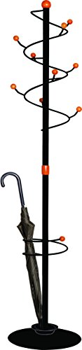 Contemporary Freestanding Hat and Coat Rack with Integrated Umbrella Stand, Black Steel with Wood Accents (Coat Tree Umbrella Stand compare prices)