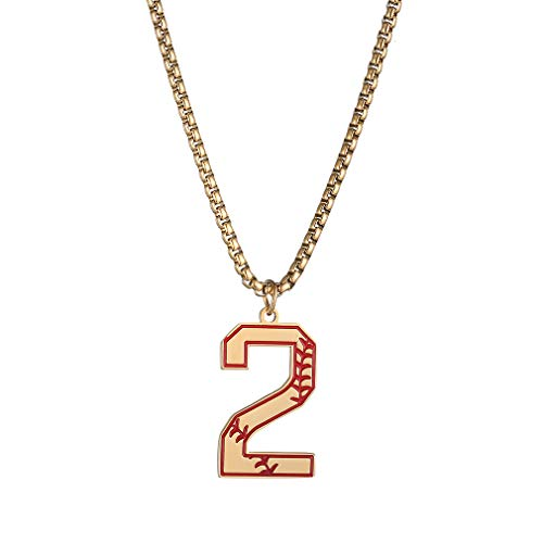 Baseball Initial Number Necklace for Boys,Men Sports Prayer Inspiration Baseball Jersey Number Charms Stainless Steel Pendant Necklace Crafted,(Gold,Number 2 Neckalce)